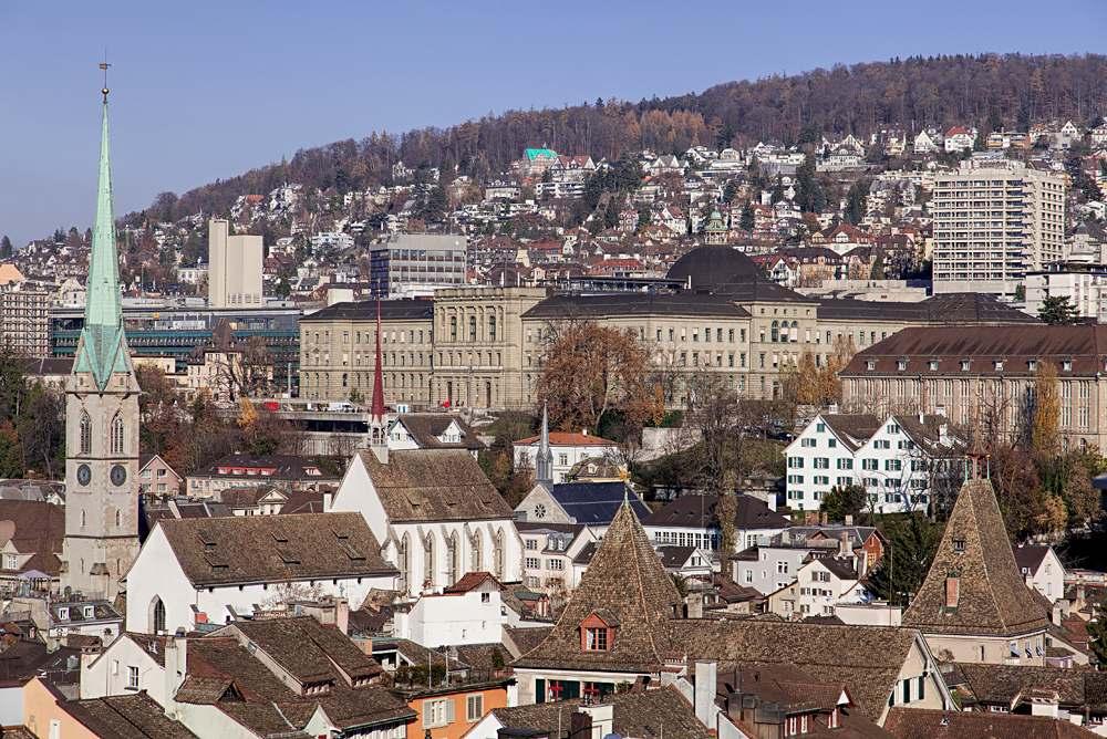 View from the Grossmunster Tower towards the University of Zurich, Switzerland