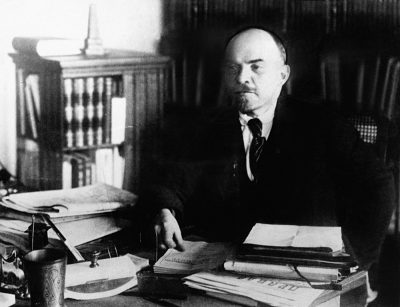 Vladimir Lenin, at his desk, between 1920 to 1922, Russia