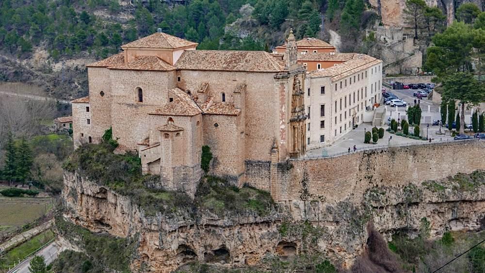 Aerial shot of Parador de Cuenca in Cuenca, Spain