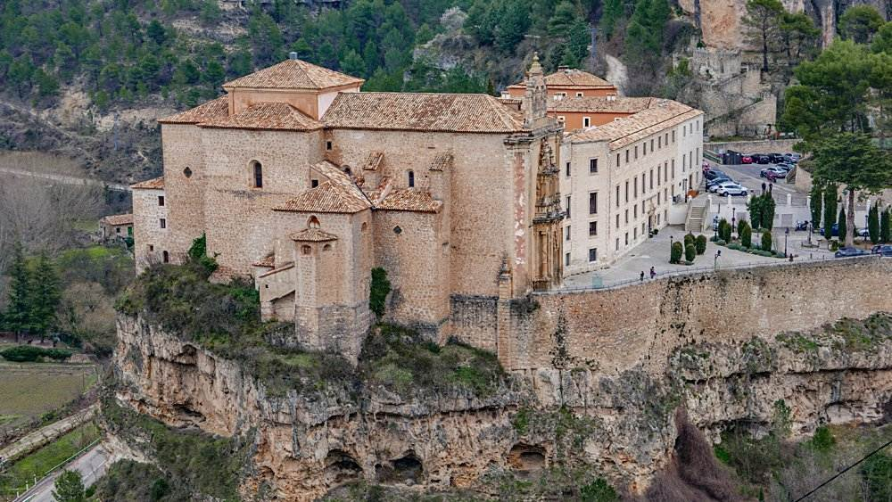 Aerial shot of Parador de Cuenca in Cuenca, Spain