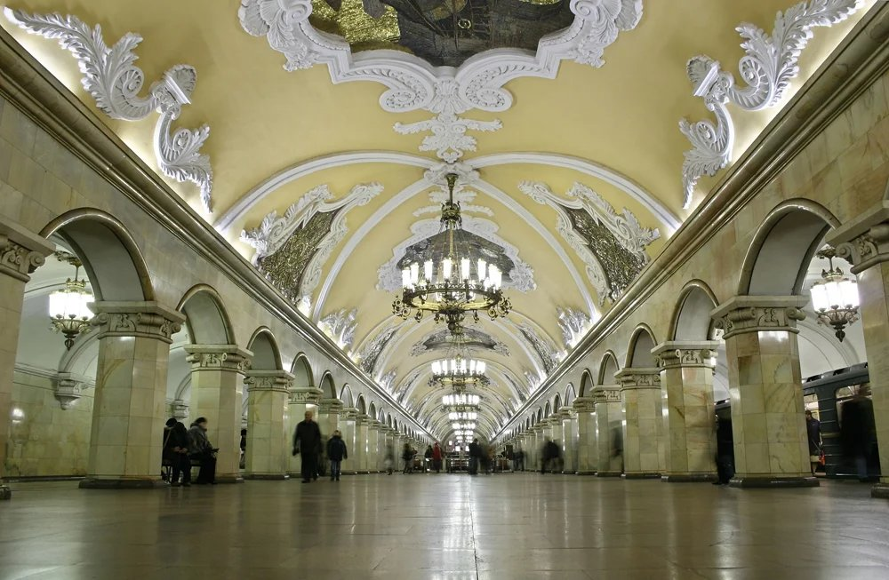 Beautiful Moscow subway interior, Moscow, Russia