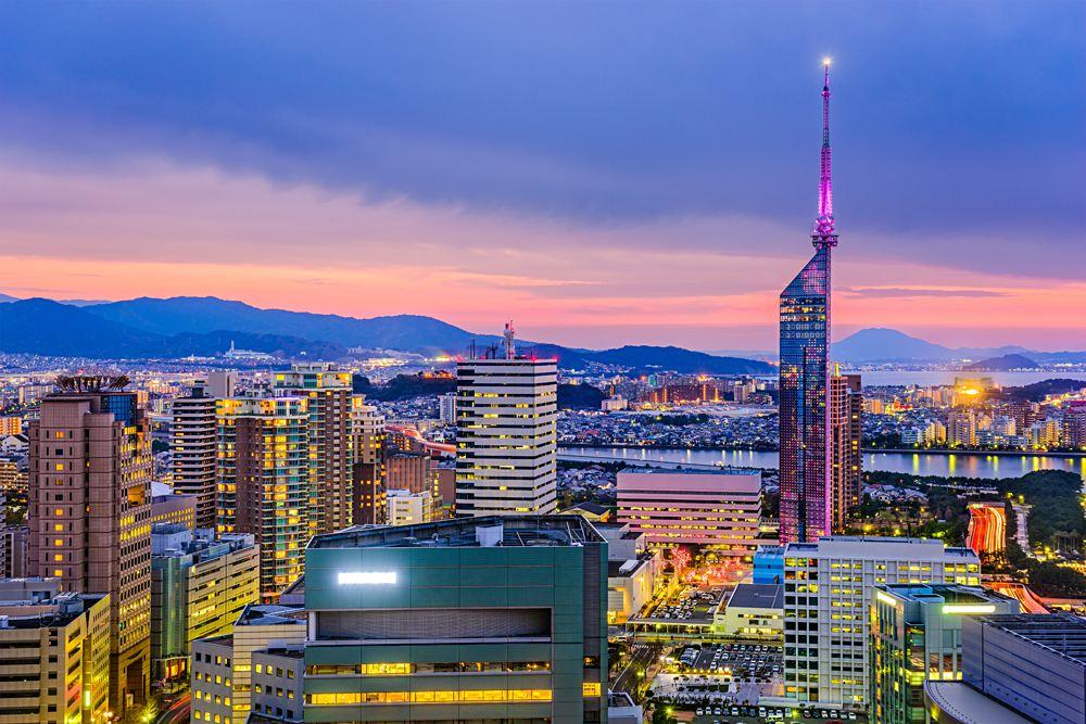 City skyline at night of Fukuoka, Kyushu Island, Japan