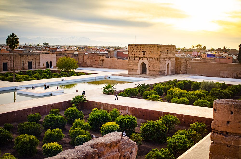 El Badi Palace and landscape at sunset in Marrakech, Morocco