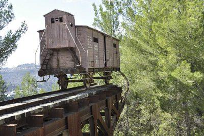 Holocaust train at Yad Vashem in Jerusalem, Israel