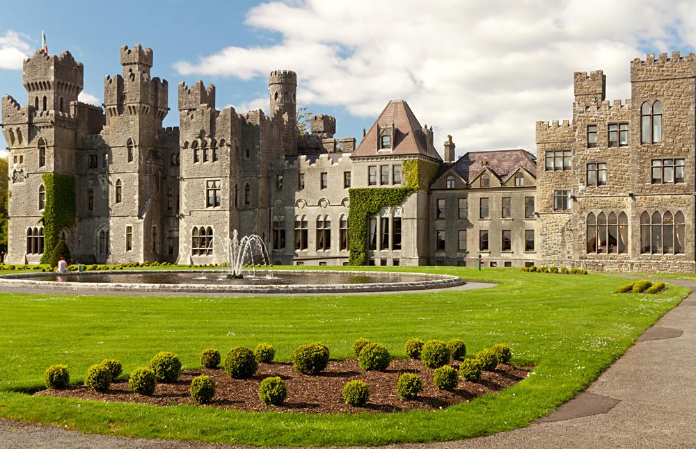 Medieval Ashford Castle and gardens, County Mayo, Ireland