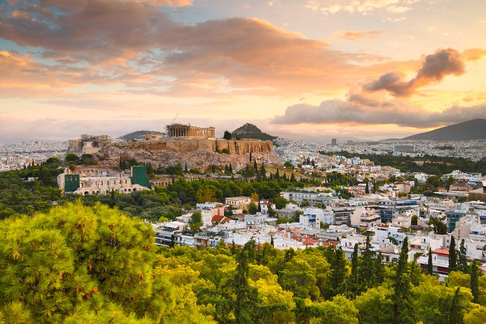 Morning view of Acropolis from Filopappou Hill in centre of Athens, Greece