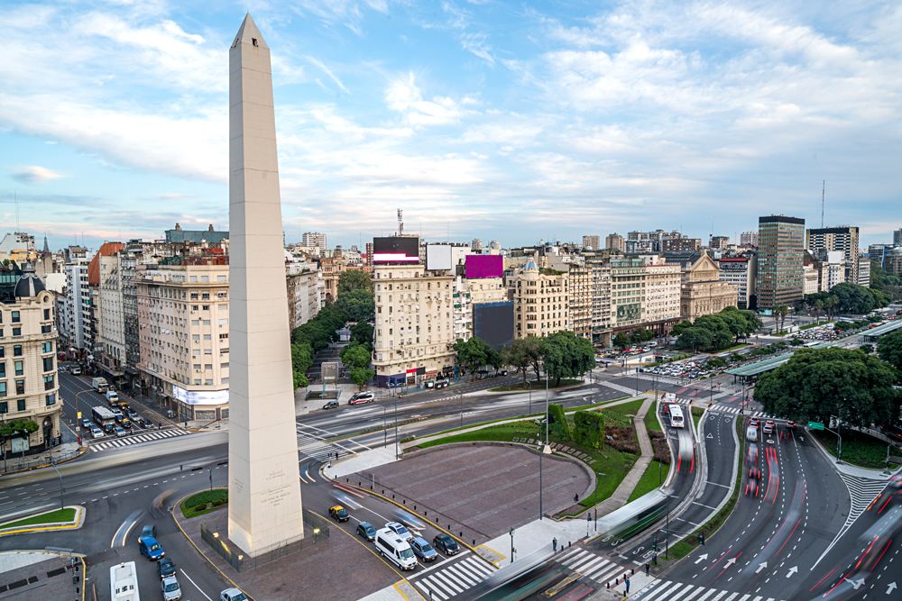 Obelisk of Buenos Aires, centre of the city, Argentina