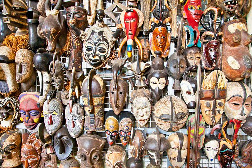 Old african masks for sale at market in Nairobi, Kenya