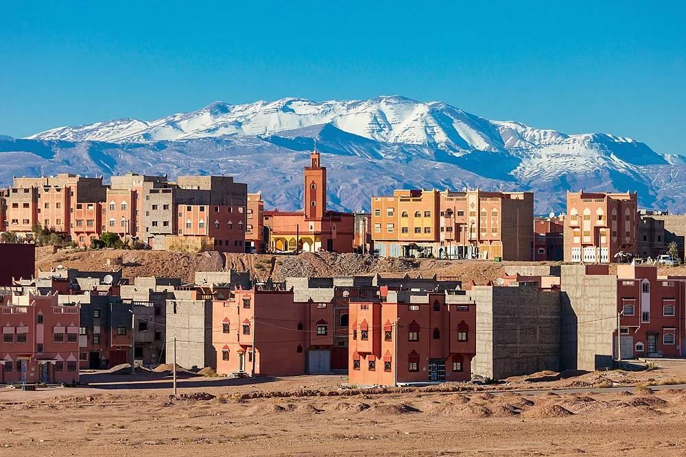Ouarzazate city and High Atlas Mountains panoramic view, Morocco