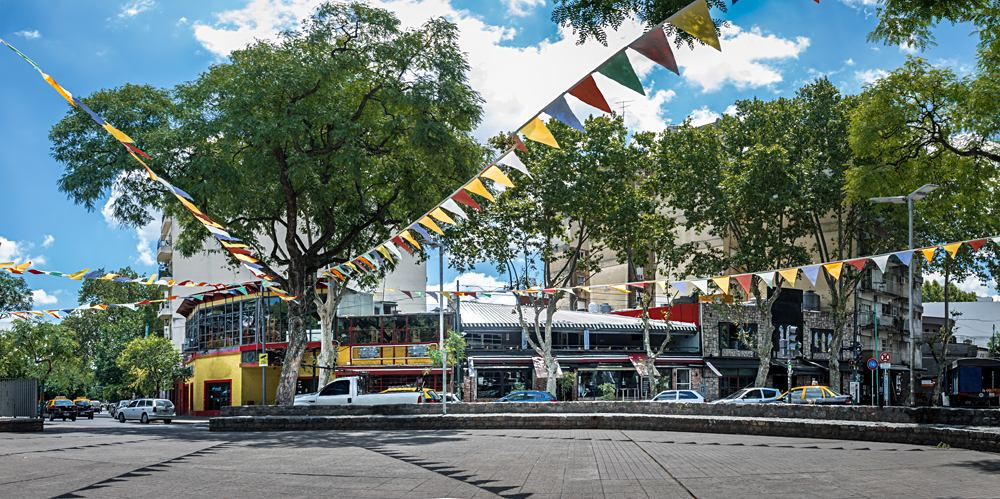 Panoramic View of Plaza Serrano in Palermo Soho neighborhood in Buenos Aires, Argentina