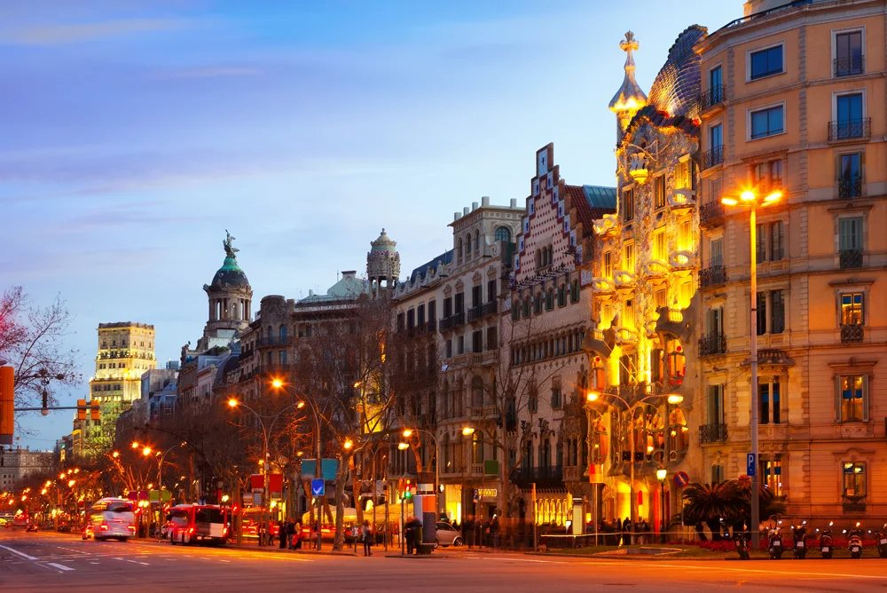 Passeig de Gracia on a winter evening, Barcelona, Spain