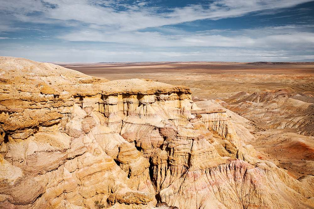 Plains of the Flaming Cliffs of Bayanzag, Gobi Desert, Mongolia