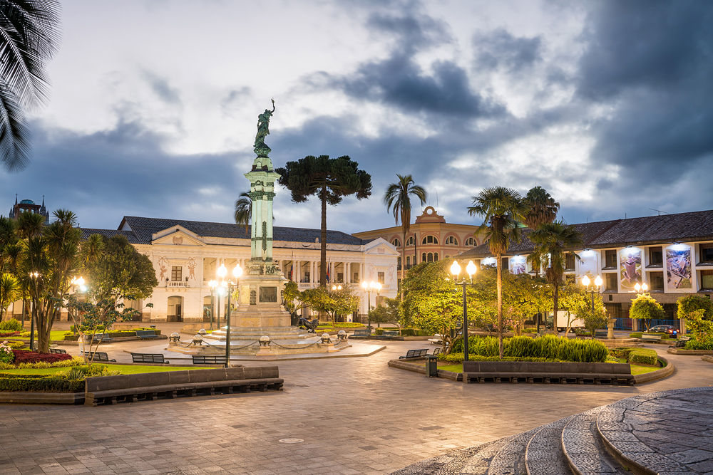Plaza Independencia in old town Quito at night, Ecuador