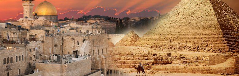 Pyramids Cairo and Western Wall Jerusalem