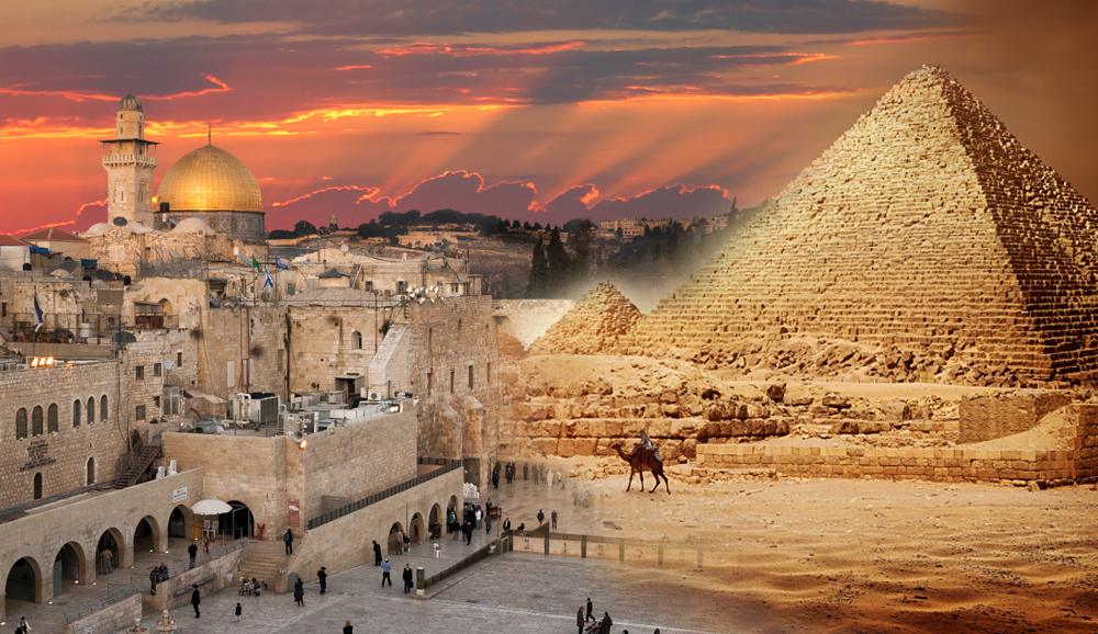 Pyramids Cairo and Western Wall Jerusalem