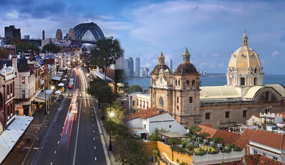 Rocks Sydney Australia and Cartagena de Indias, Colombia