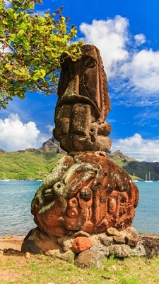Tiki on the bay of Nuku Hiva, Marquesas Island, Tahiti (French Polynesia)