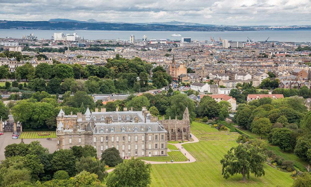 Top View of Edinburgh from Arthur's Seat with the Palace of Holyroodhouse, Edinburgh, Scotland, UK