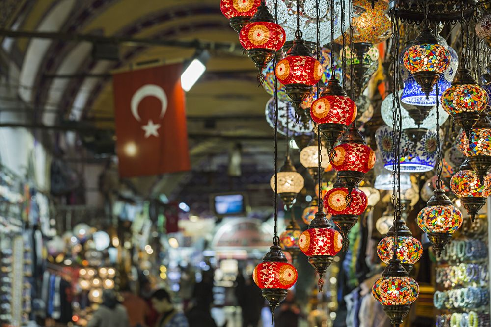 Various old lamps on the Grand Bazaar in Istanbul, Turkey