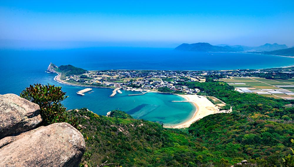 View from Mount Tateishi above Itoshima, Fukuoka on Kyushu Island, Japan