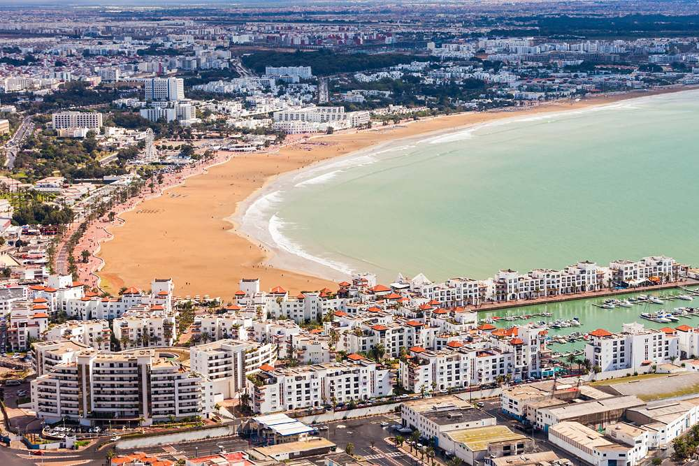 Aerial view of Agadir from Agadir Kasbah (Agadir Fortress), Morocco
