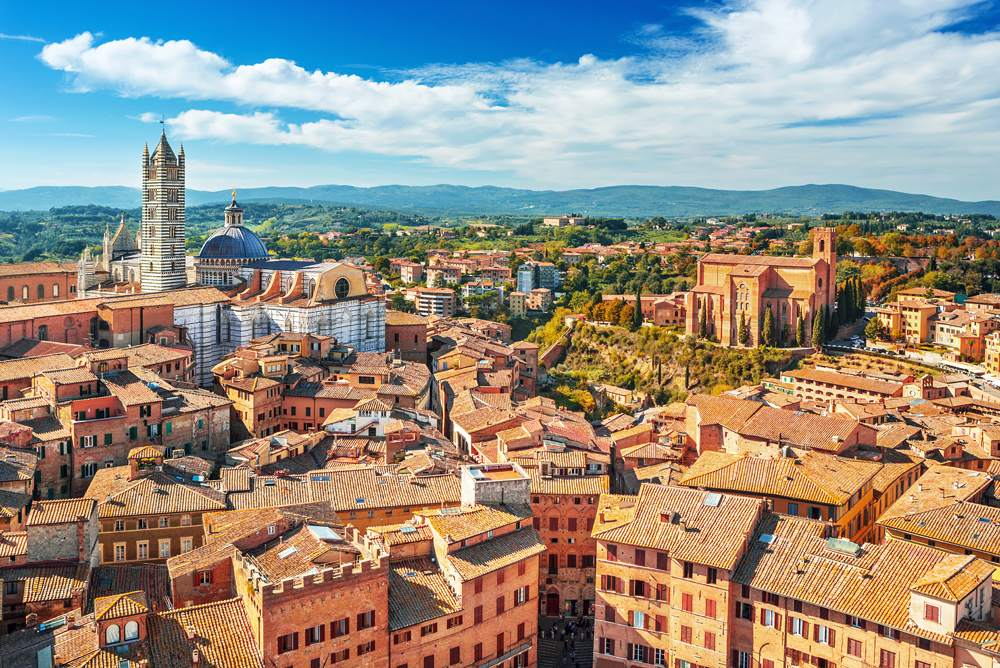 Aerial view of Siena in Tuscany, Italy
