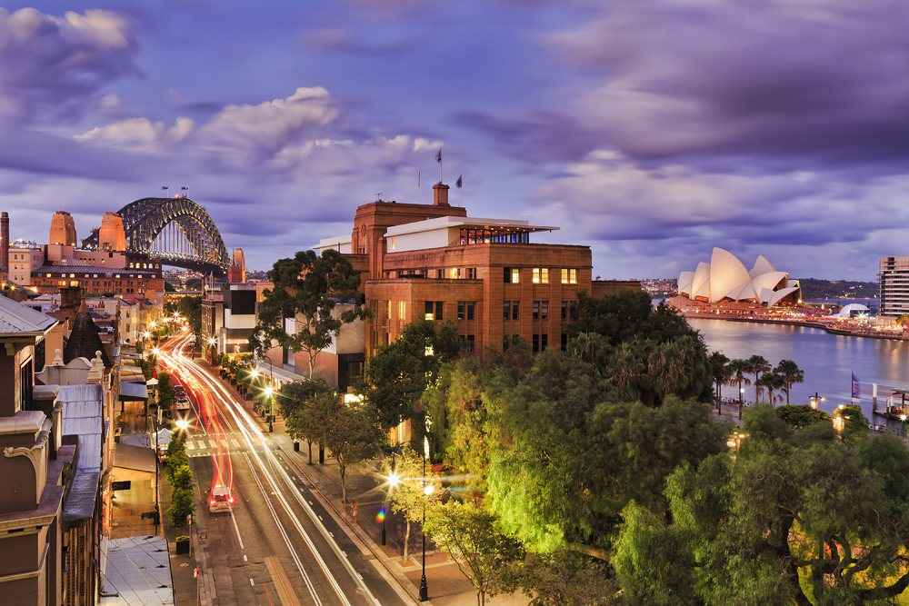 Aerial view of The Rocks historic district in Sydney, New South Wales, Australia