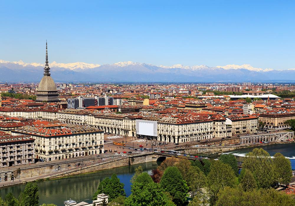 Aerial view ofTurin and the Alps, Piedmont, Italy