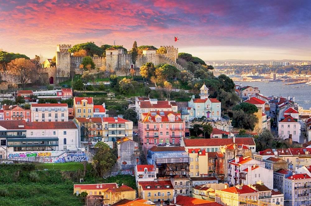 Alfama District skyline with Sao Jorge Castle, Lisbon, Portugal