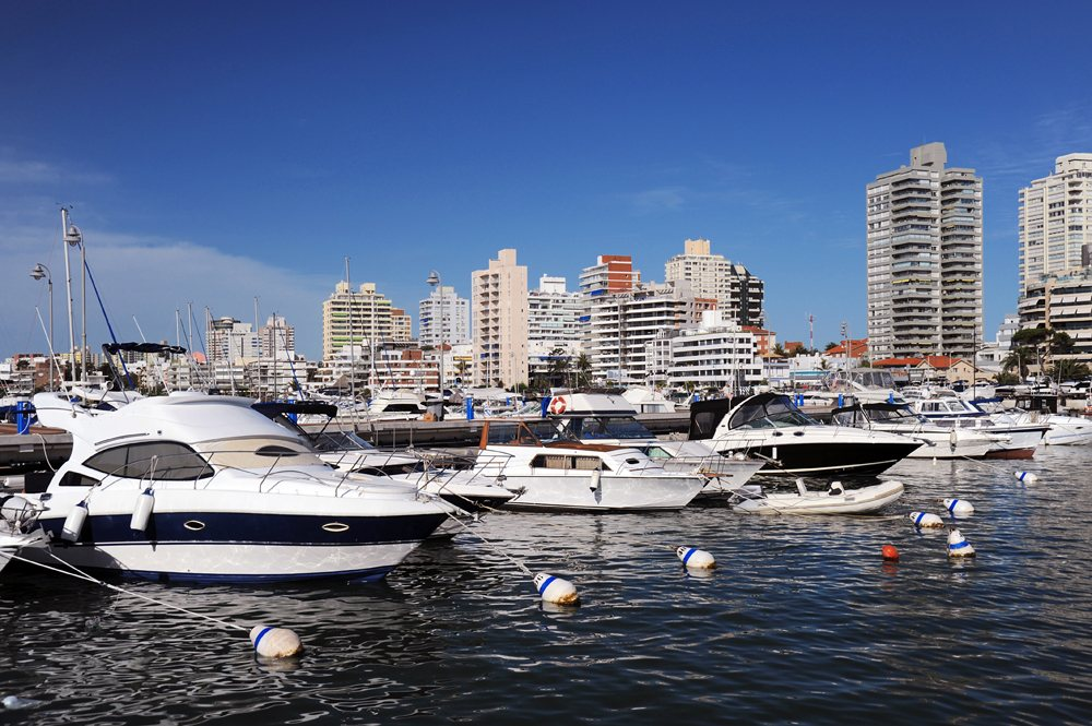 Boats and yachts in the bay on a sunny day, Punta del Este, Uruguay