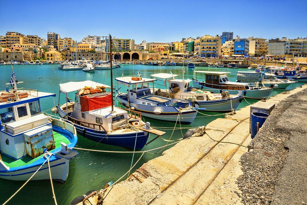 Boats in the old port of Heraklion. Crete, Greece