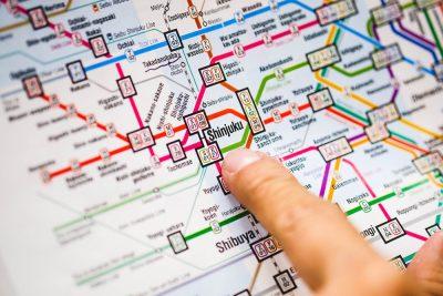 Close up of Shinjuku station in Tokyo metro subway map, Tokyo, Japan