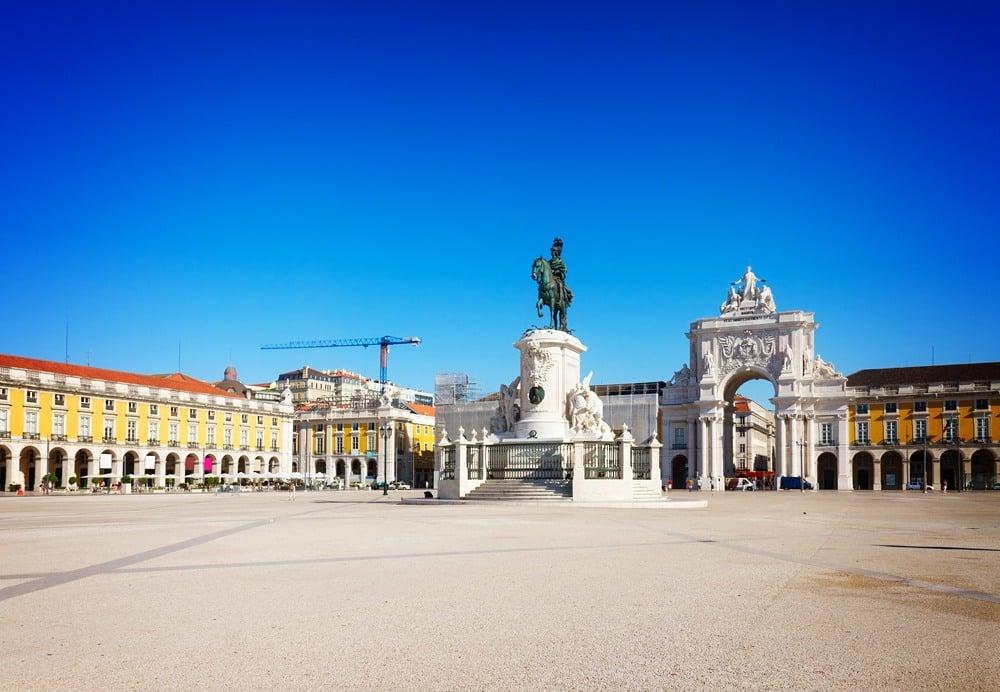 Commerce Square (Praca do Comercio) with King Jose I statue in Lisbon, Portugal