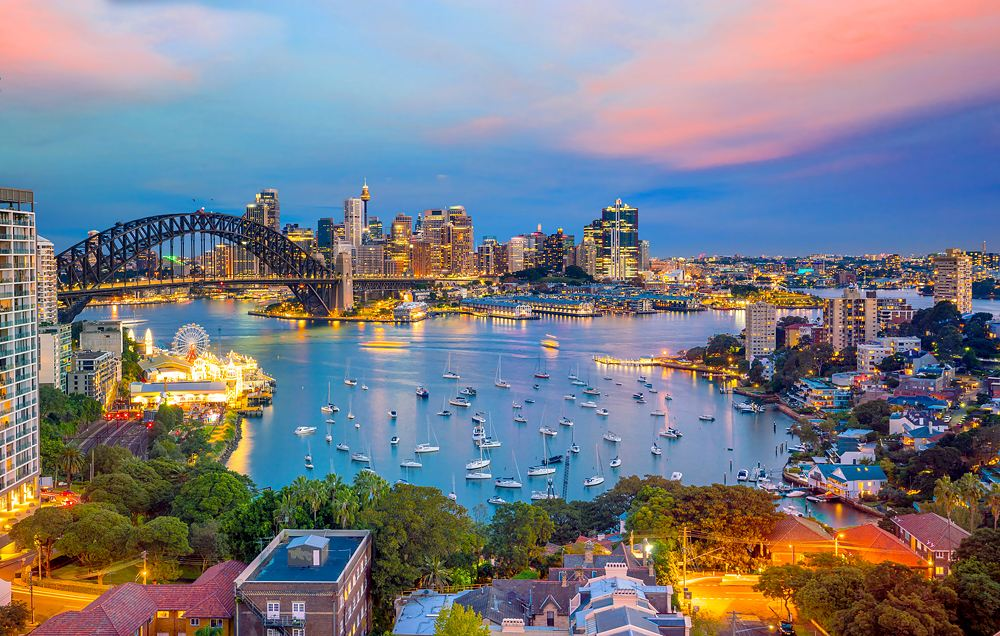 Downtown Sydney skyline at twilight, New South Wales, Australia