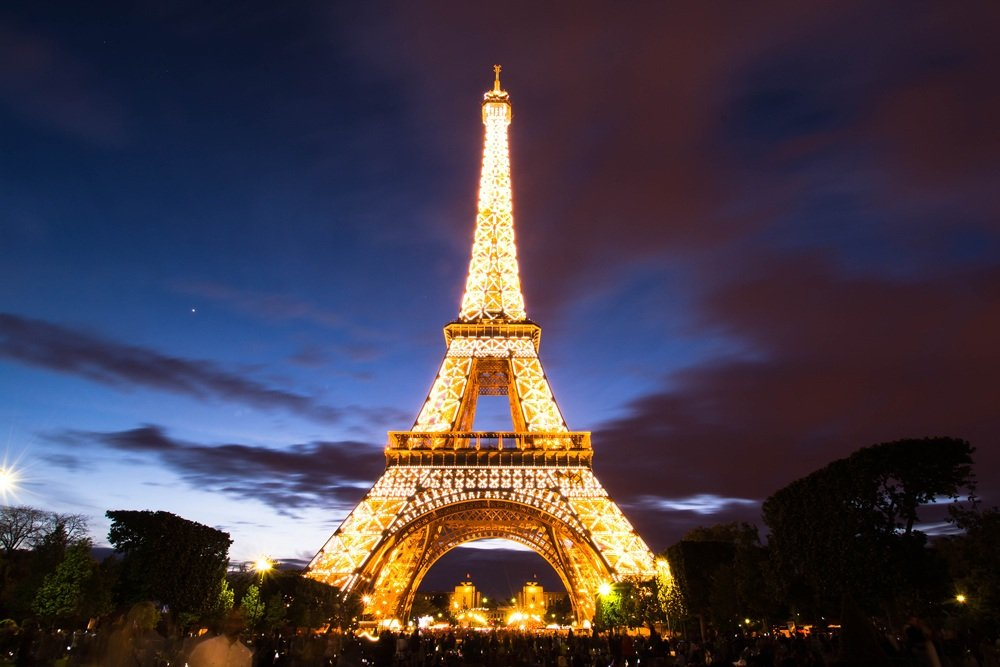 Eiffel Tower lit up at night, Paris, France