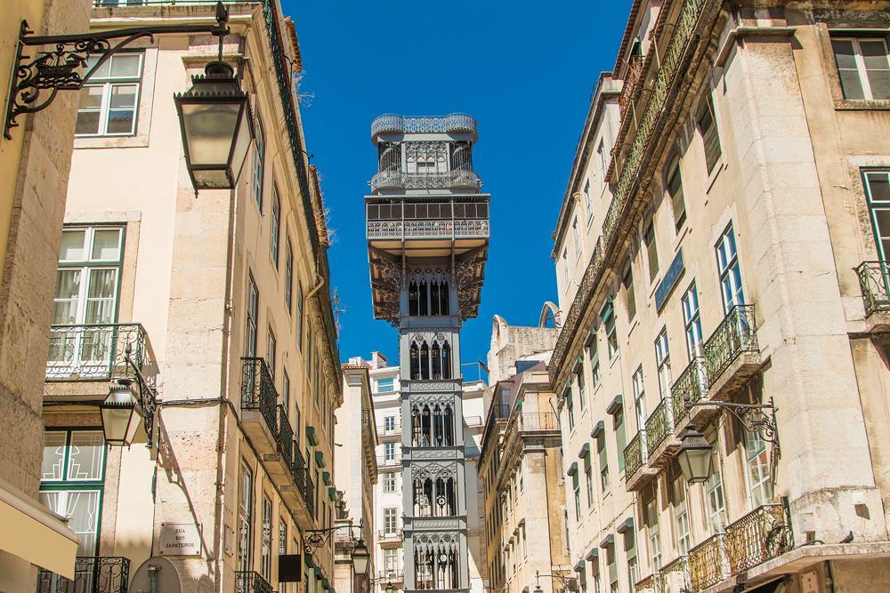 Famous Santa Justa elevator in the Baixa District in Lisbon, Portugal
