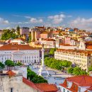 Lisbon skyline view over Rossio Square, Portugal
