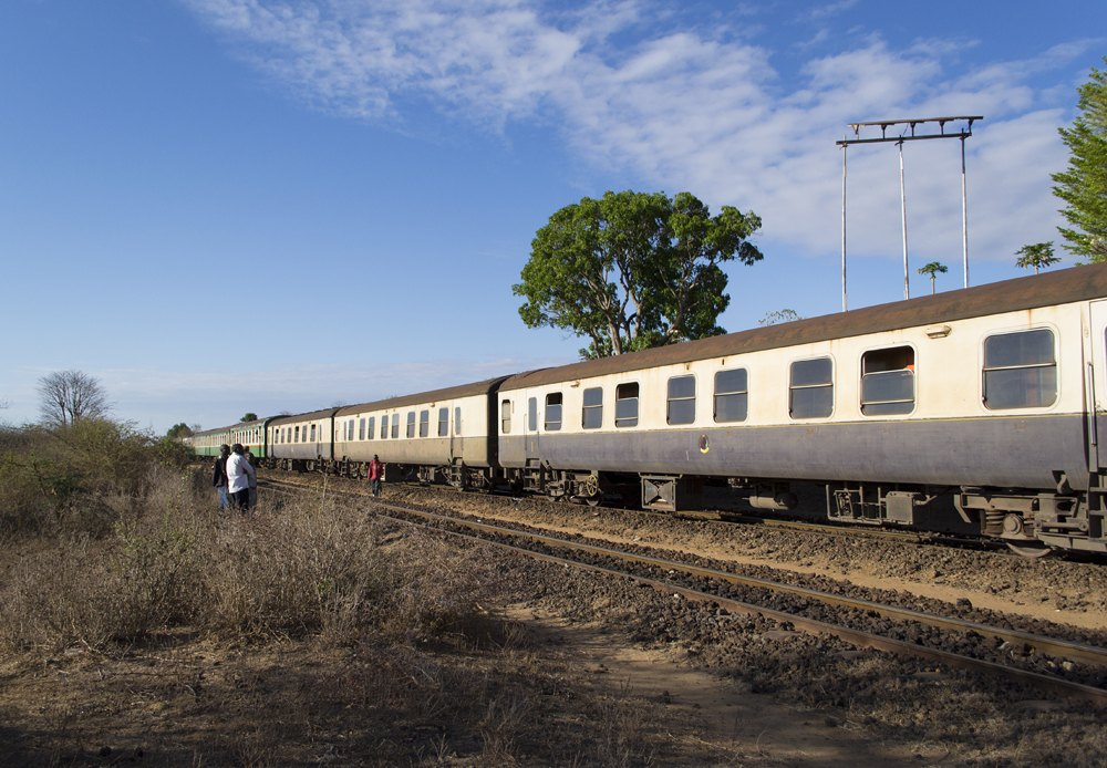 Nairobi to Mombasa train on the historic Uganda railway line in Tsavo National Park, Kenya