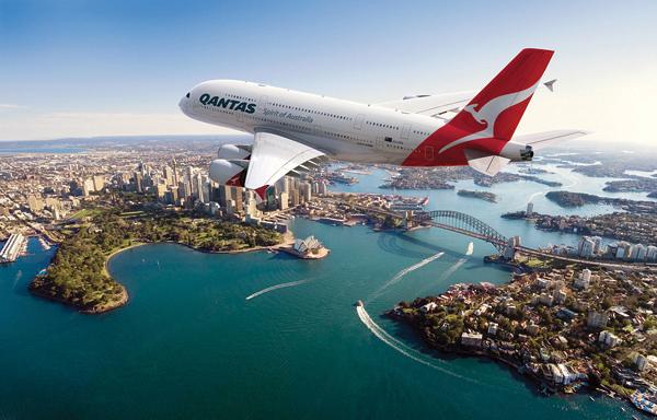 Qantas plane over Sydney, Australia