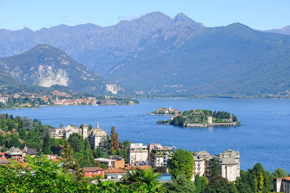 Scenic view on beautiful Lake Maggiore among the Alps, Piedmont, Italy