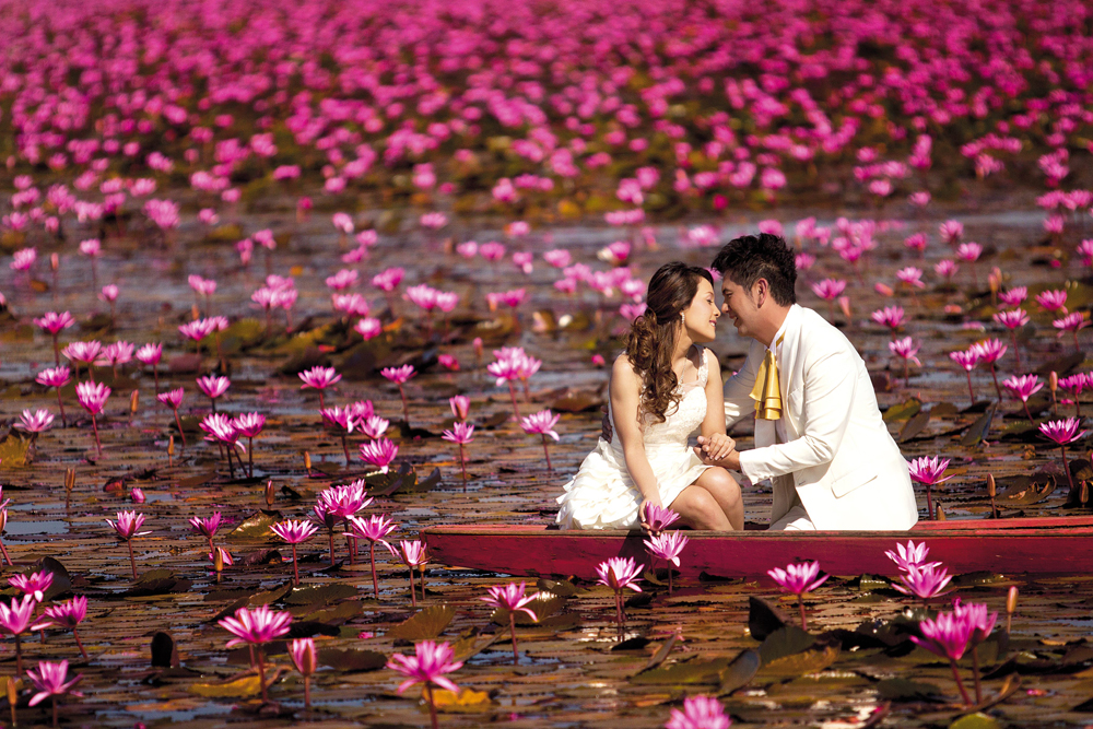 Thale Bua Dang or Red Lotus Sea, Nong Han Lake, Udon Thani, Published in Million of Red Lotuses Blossom at Nong Han. Kumphawapi, Osotho Magazine, Issued : February, 2012