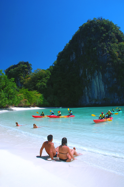 Thailand Tourism - Sea Kayak and White Sand Beaches, Ao Pi Le, Krabi, Thailand