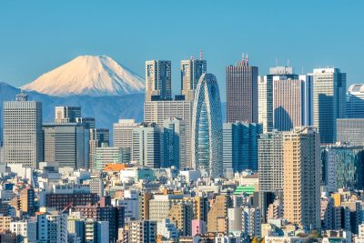 Tokyo's modern skyline with Mt fuji in the background, Japan