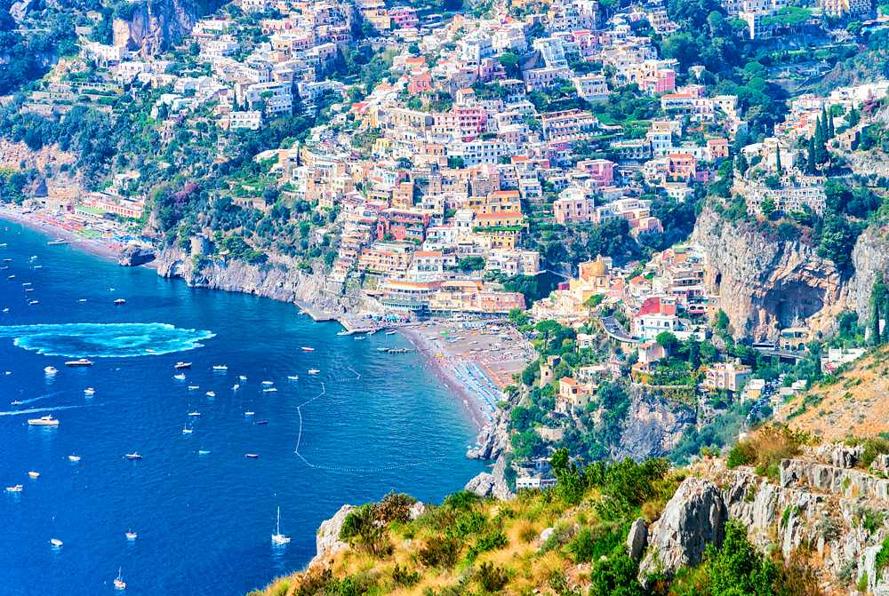View from Path of Gods on Tyrrhen Sea and Positano, Amalfi Coast, Italy