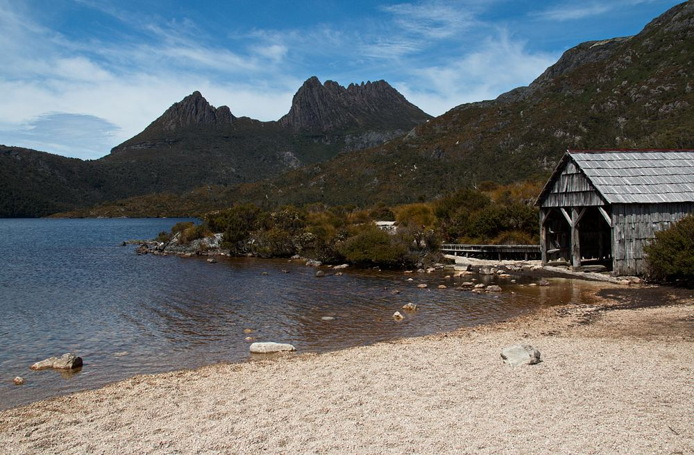 View of Dove Lake from Dove Lake Circuit in Cradle Mountain NP, Tasmania, Australia