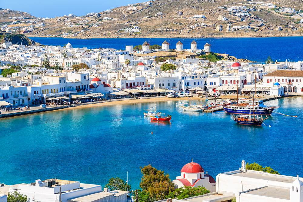 View of Mykonos port with boats, Cyclades Islands, Greece