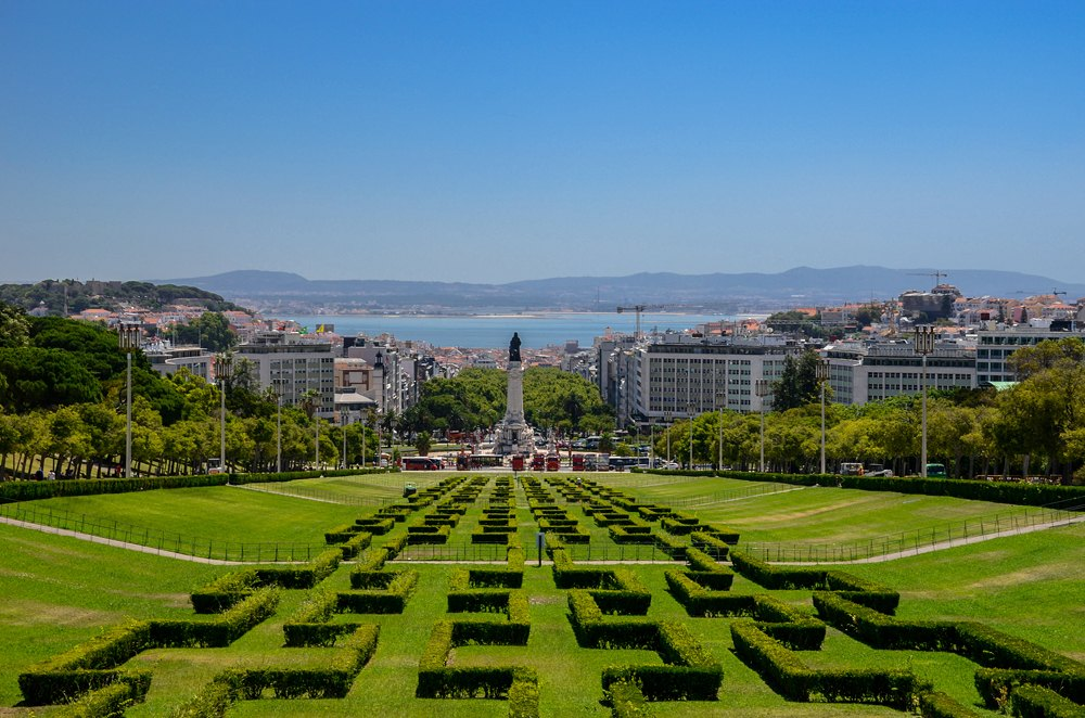 View of the labyrinth of Edward VII park and gardens, Lisbon, Portugal