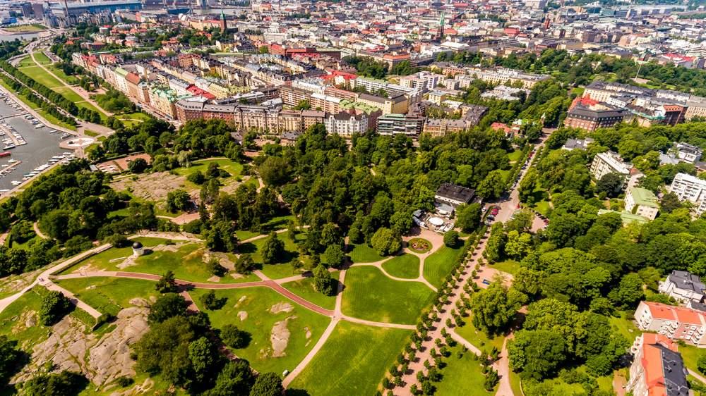 Aerial view of Kaivopuisto Park, Helsinki, Finland