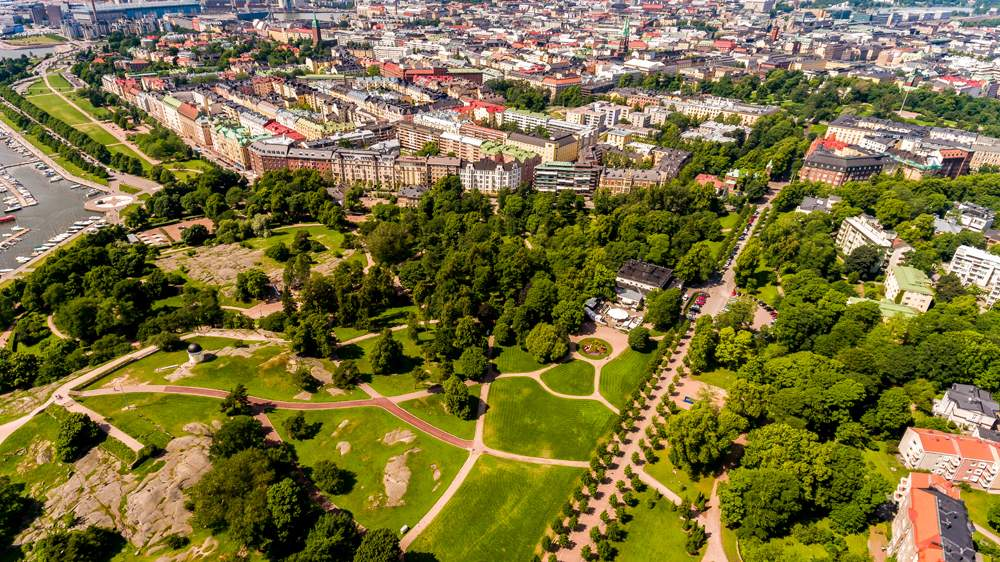 Aerial view of Kaivopuisto Park, Helsinki, Finland