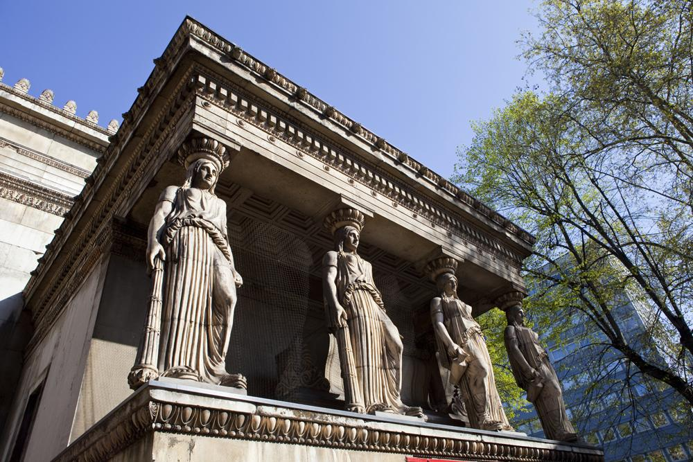 Caryatids at St Pancras Parish Church in London, UK (United Kingdom)